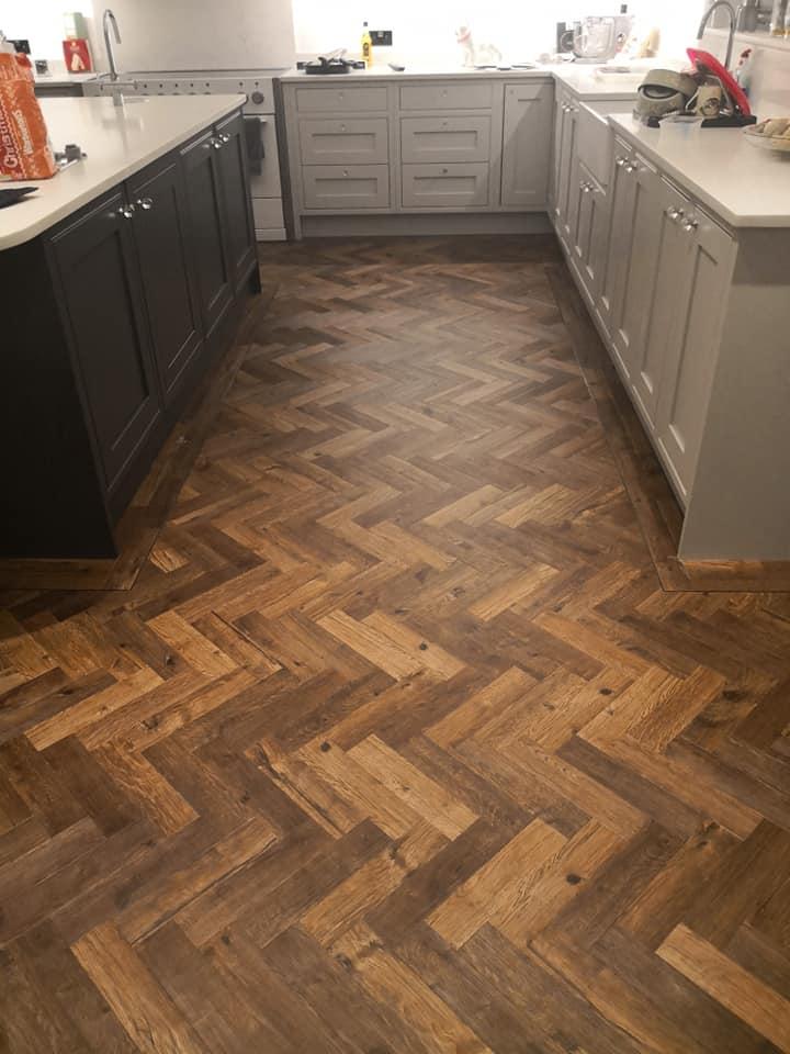 LVT flooring Oak Herringbone Parquet in Kitchen